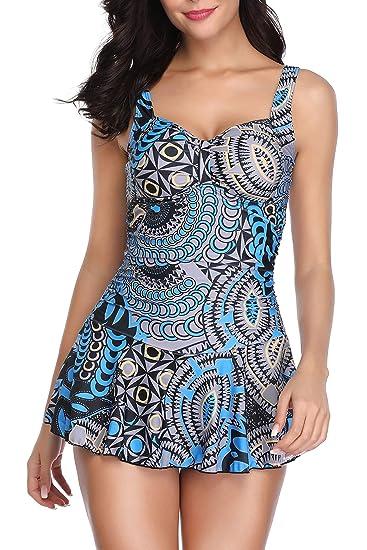 5de2317f53f9a YAMENUSA Women One Piece Swimdress Tummy Control Swim Dress Swimwear  Slimming Skirt Swimsuits Bathing Suit Dress at Amazon Women's Clothing store :
