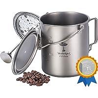 Camping Coffee Cup Titanium Mug, Bestargot® Outdoor French Press Pot, Camp Cooking Pot, Multi-Functional Travel Mug, Pot…