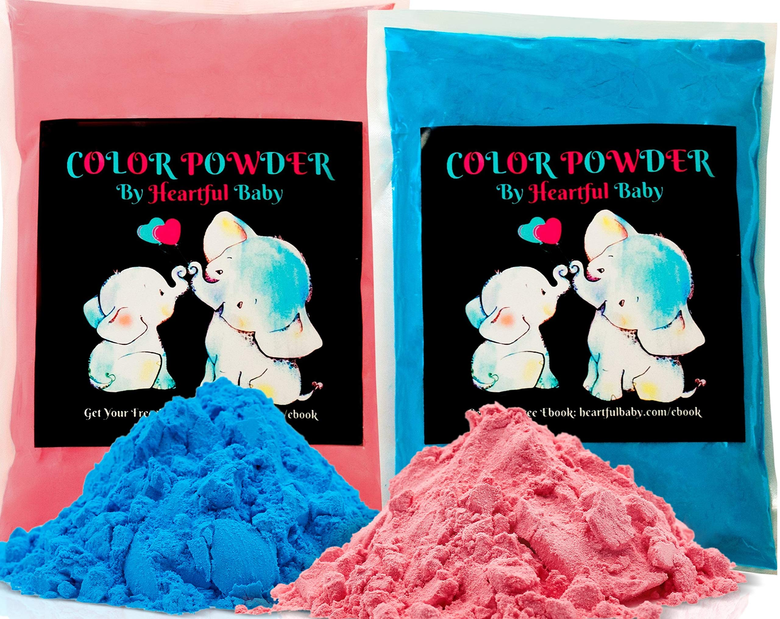 Baby Gender Reveal Party Supplies - 2lb Pink and 2 lb Blue Color Powder Bag - FREE BONUS EBOOK - Girl or Boy Announcement - Holi Festival Colored Powdered Smoke Bomb - Car Exhaust Burnout - 5k Fun Run