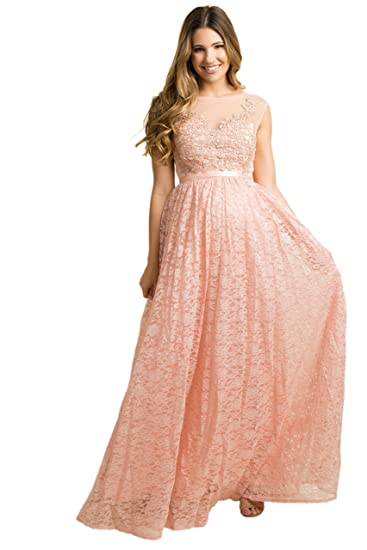 255e2428a3c PinkBlush Maternity Embroidered Lace Overlay Evening Gown at Amazon Women s  Clothing store