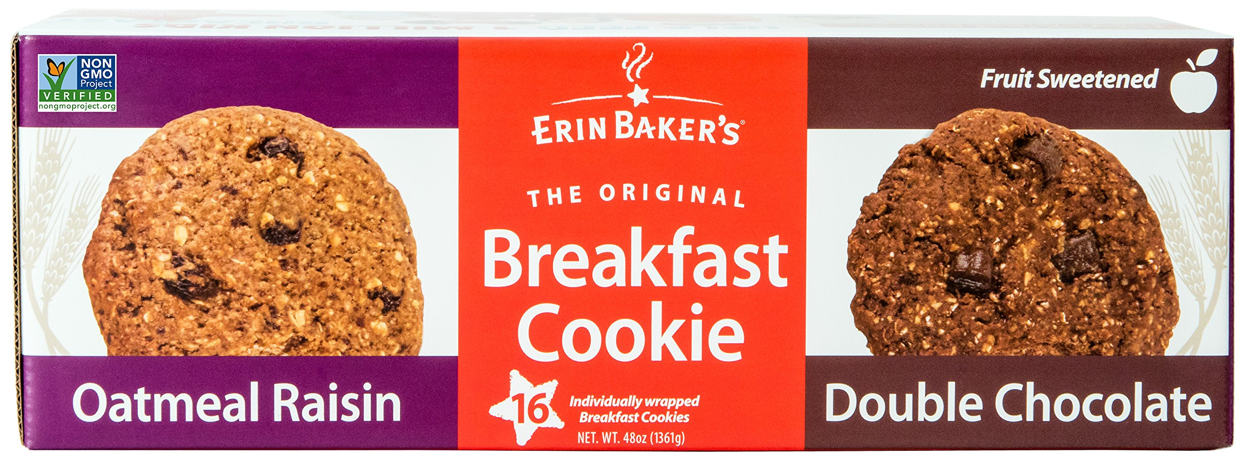 Erin Baker's Breakfast Cookies, Oatmeal Raisin and Double Chocolate Variety, Whole Grain, Non-GMO, 3-ounce (Pack of 16)