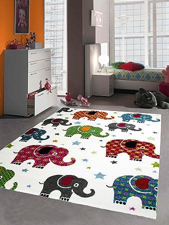 Kinderteppich Spielteppich Kinderzimmer Teppich Bunte Elefanten