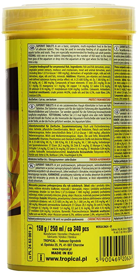 Tropical supervit Tablets a Principal Forro Antiadherente pastillas, 1er Pack (1 x 250 ml): Amazon.es: Productos para mascotas
