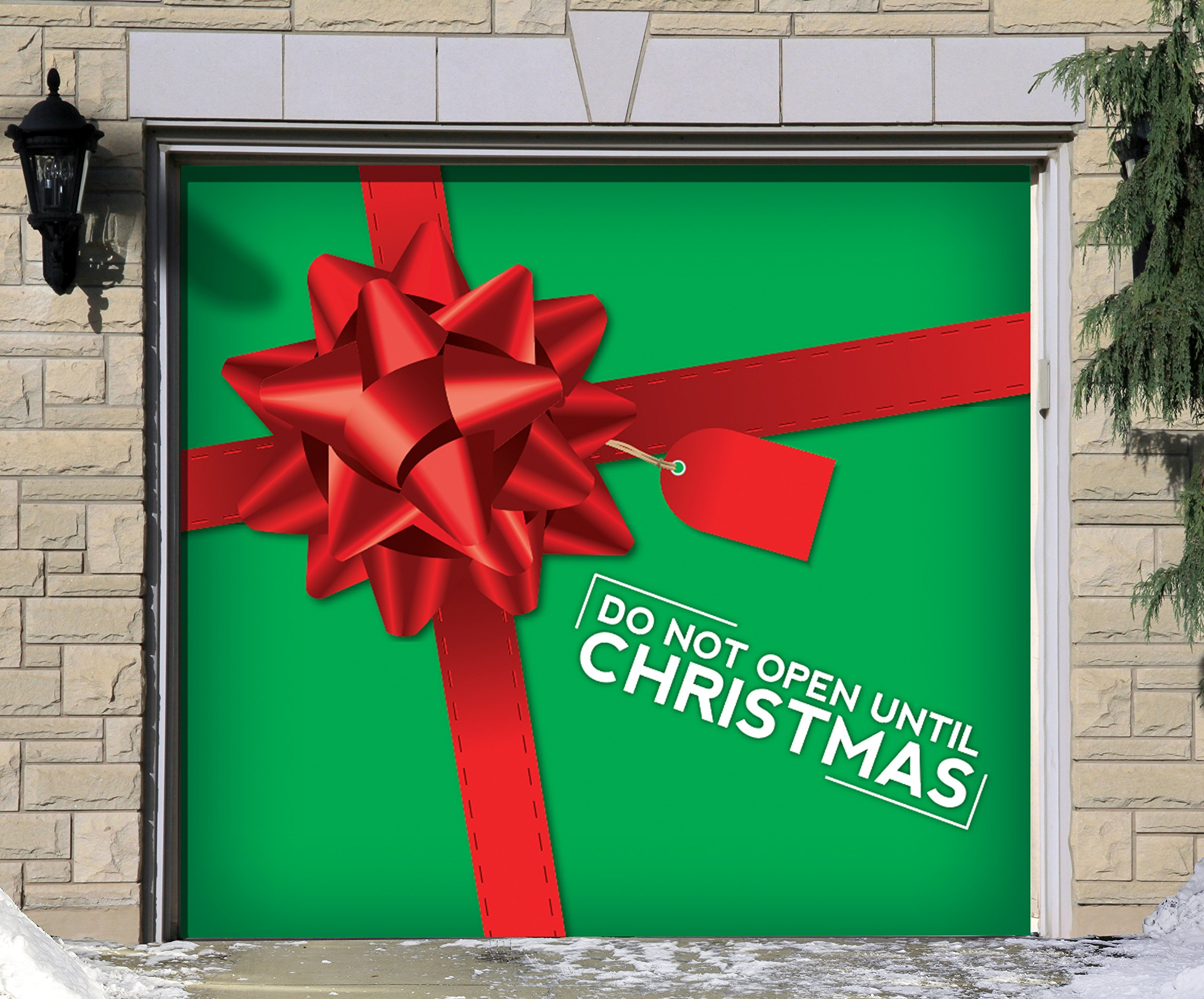 Victory Corps Outdoor Christmas Holiday Garage Door Banner Cover Mural Décoration - Don't Open Until Outdoor Christmas Holiday Garage Door Banner Décor Sign 7'x8'