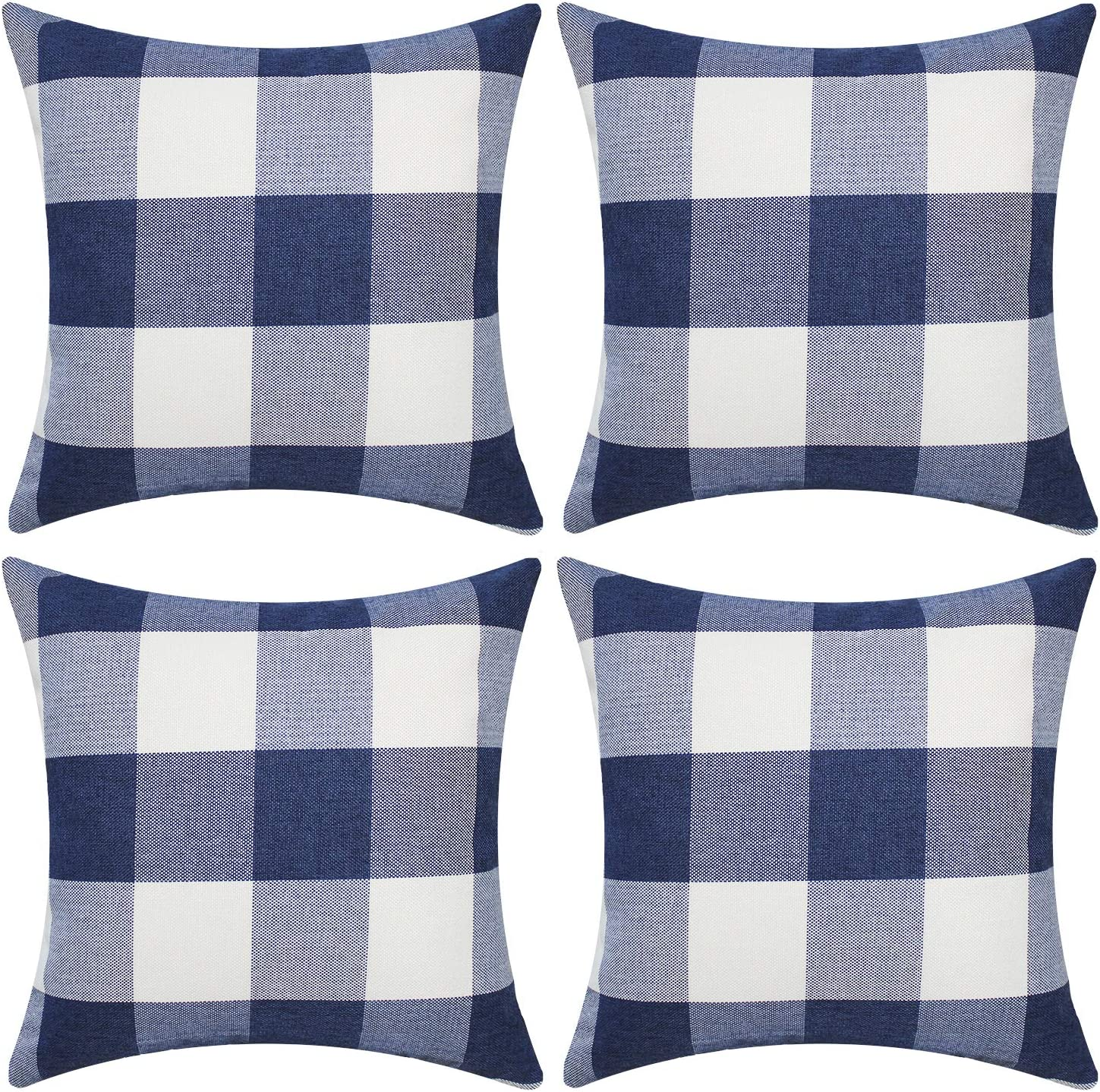 Gysan Buffalo Check Plaid Throw Pillow Covers Decorative Square Pillow Case Set of 4 18x18 Inches for Farmhouse Home Decor Cushion Cover Couch Sofa Bed Car, Navy Blue & White