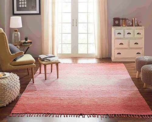 Chesapeake Cotton Ombre Coral Area Rug 7 3 x 9 3