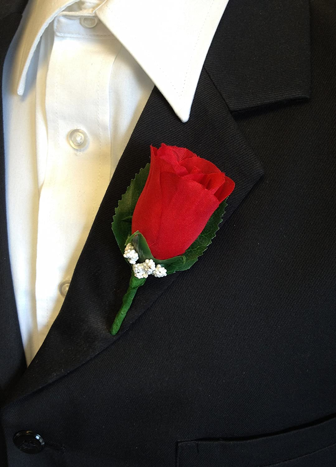 Holiday Red Rose Boutonniere with Pin for Prom Wedding Party