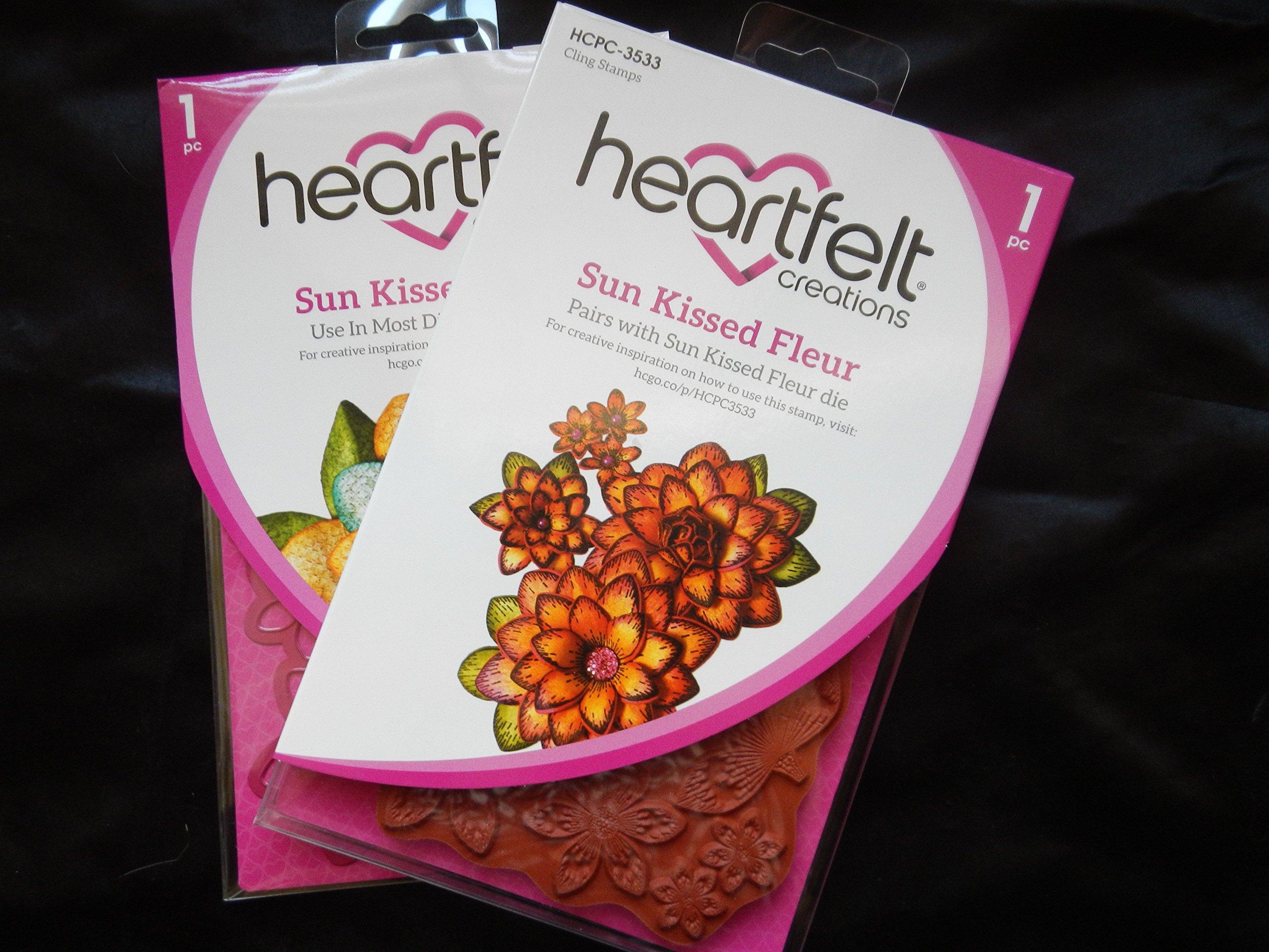 Heartfelt Creations Sun Kissed Fleur Die and Cling Rubber Stamp Set Bundle 2 Pieces