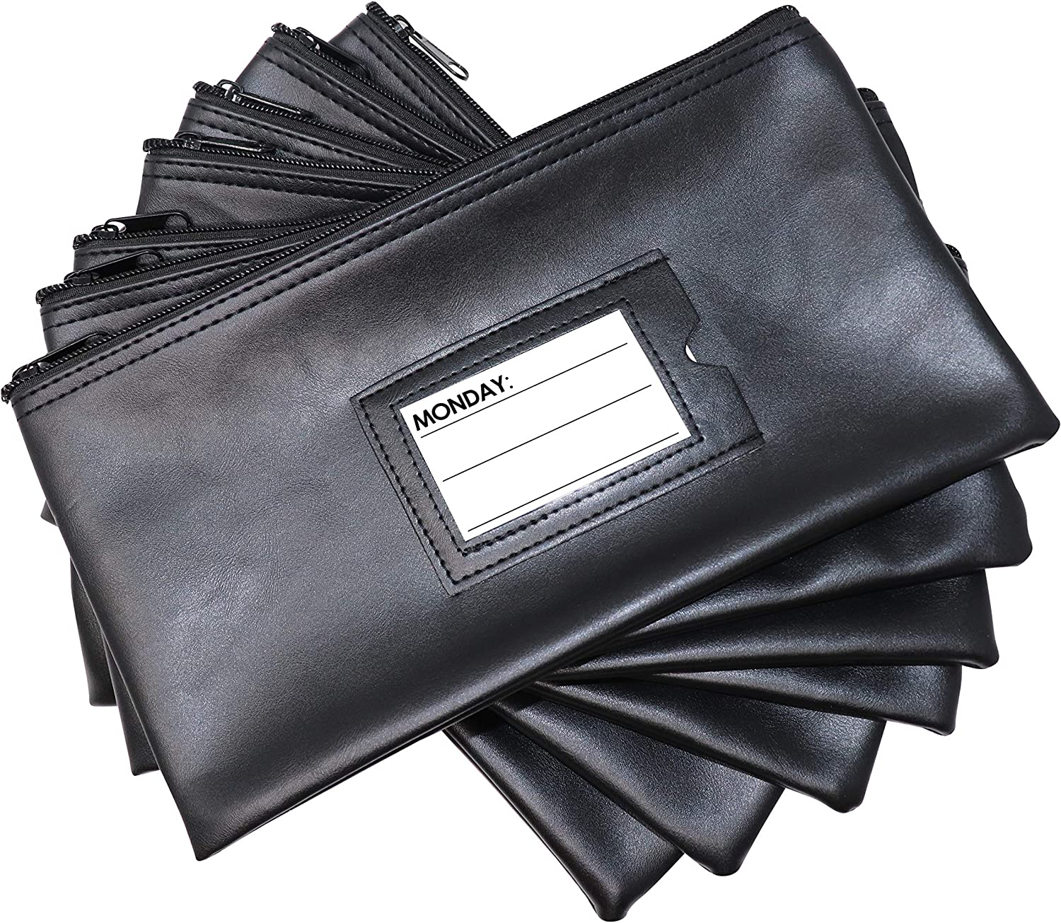 Each Money Bag with Blank Card and Card for Each Day of The Week Multi-Color Nadex 7 Days Bank Deposit Cash and Coin Pouches with Zipper Closure