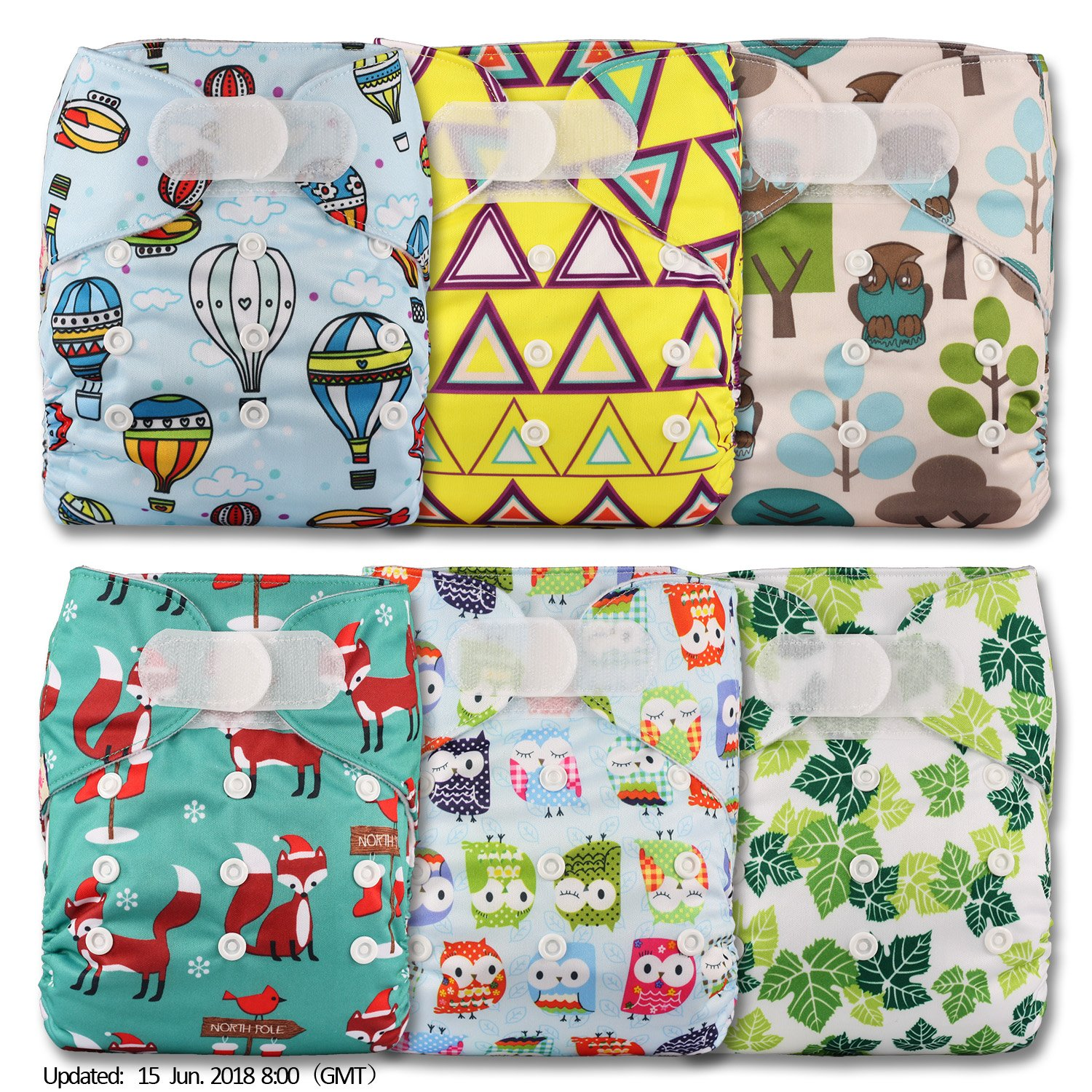 Set of 8 with 8 Bamboo Inserts Littles /& Bloomz Patterns 811 Reusable Pocket Cloth Nappy Fastener: Popper