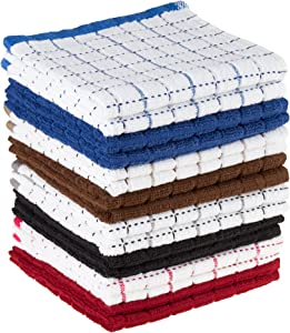 Dish Cloths Pack, Windowpane Pattern and Absorbent Dobby Weave Style Cotton, Set of 16 Kitchen Wash Towels, Cleaning/Drying by Lavish Home