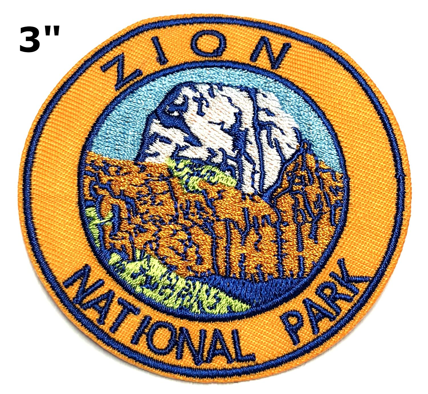 Explore Zion 3 Embroidered Patch Iron-on or Sew-on Nature Outdoor Adventure National Park Series Emblem Badge DIY Appliques Application Fabric Patches