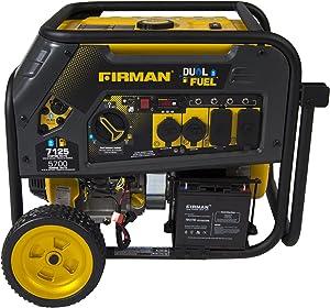 Firman H05751 7100/5700 Watt Dual Fuel Electric Start Generator, CARB