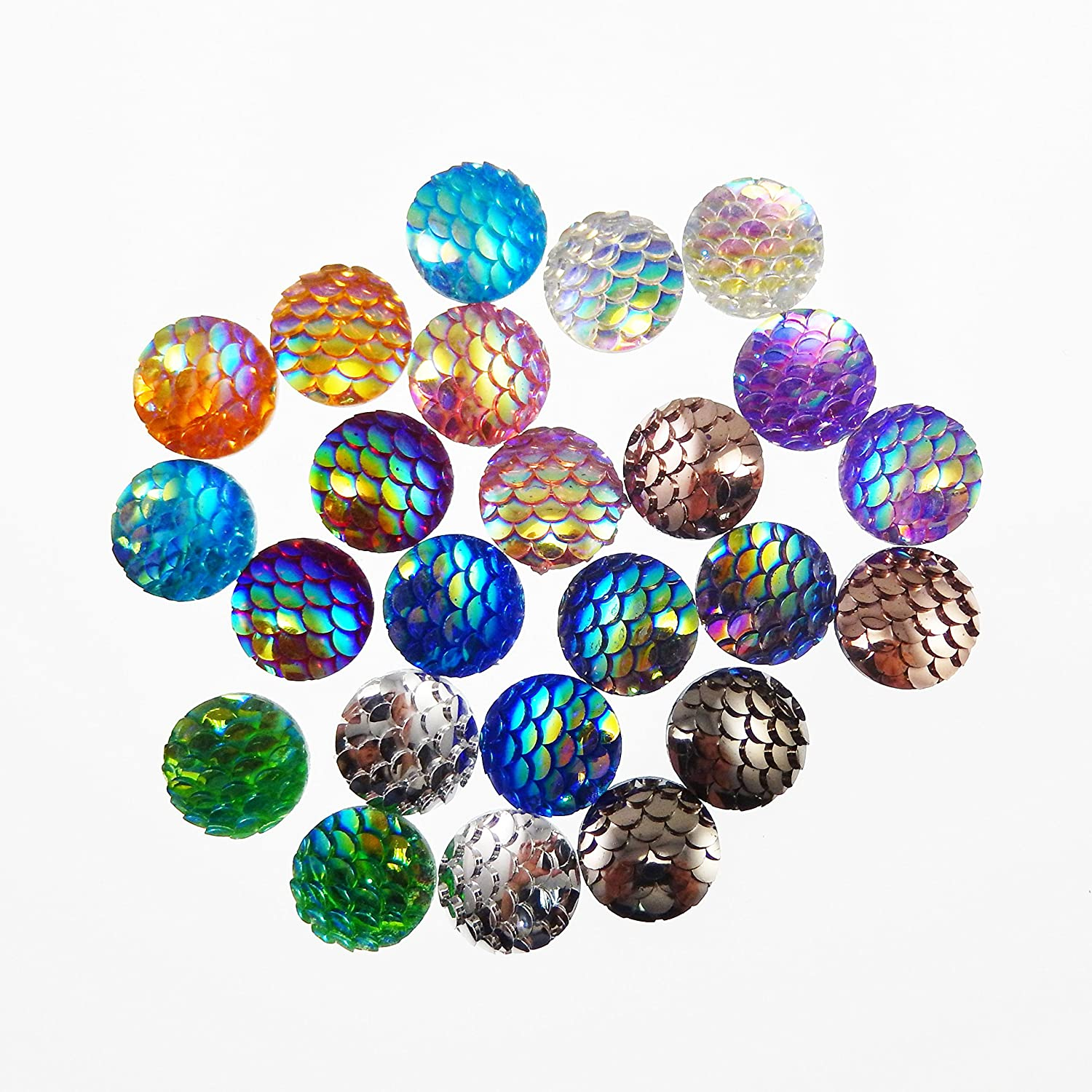 JulieWang 100pcs Mermaid Scales Skin Cabochons Resin Mixed Shinny Color for Jewelry Making (12x12mm) Julie Wang