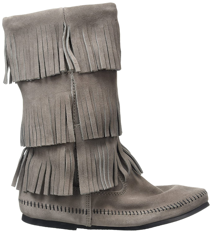 Minnetonka B003C25QTI Women's 3-Layer Fringe Boot B003C25QTI Minnetonka 7 B(M) US|Grey 2a1f41