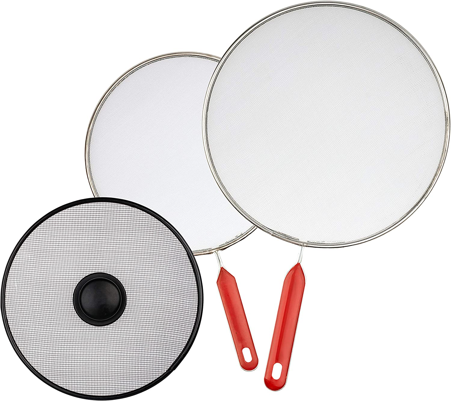 "Cooking Screen for Frying - Set of 3: 8.2"", 8.2"" and 10"" - Cooktop Splash Guard - Grease Splatter Strainer for Frypan - Fry Pan Stove Oil Shield Cover"