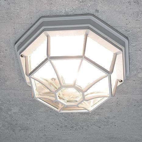 Lámpara de techo para exterior rústica de color blanco E27 a ...