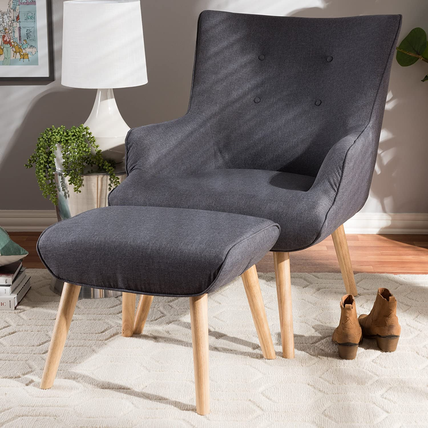 "Baxton Studio Alden Mid-Century Modern Dark Grey Fabric Upholstered Natural Finished Wood Lounge Chair and Ottoman Set/Mid-Century/Grey/Light Wood/Fabric Polyester 100""/Rubber Wood/Foam"