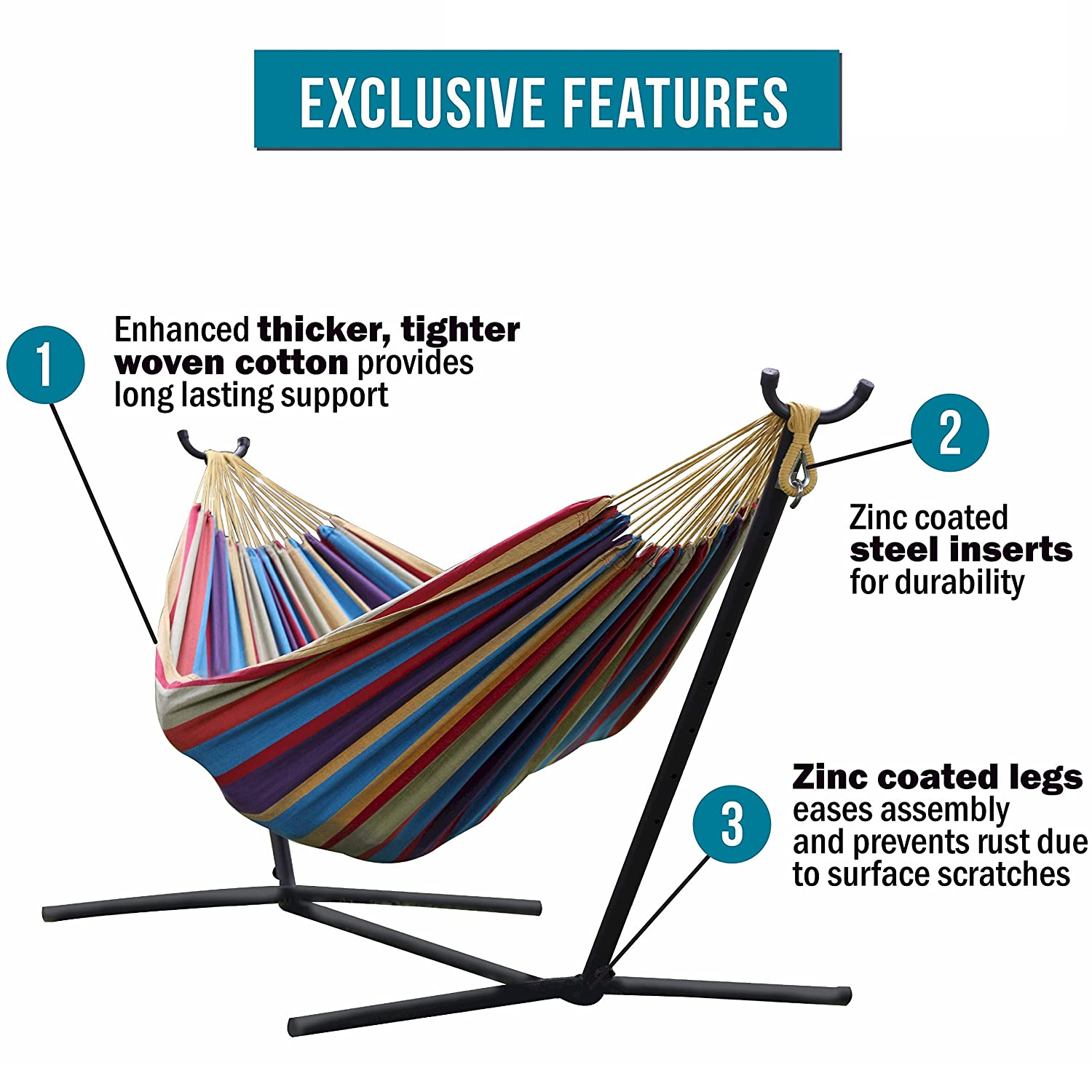 Vivere Double Hammock with Space