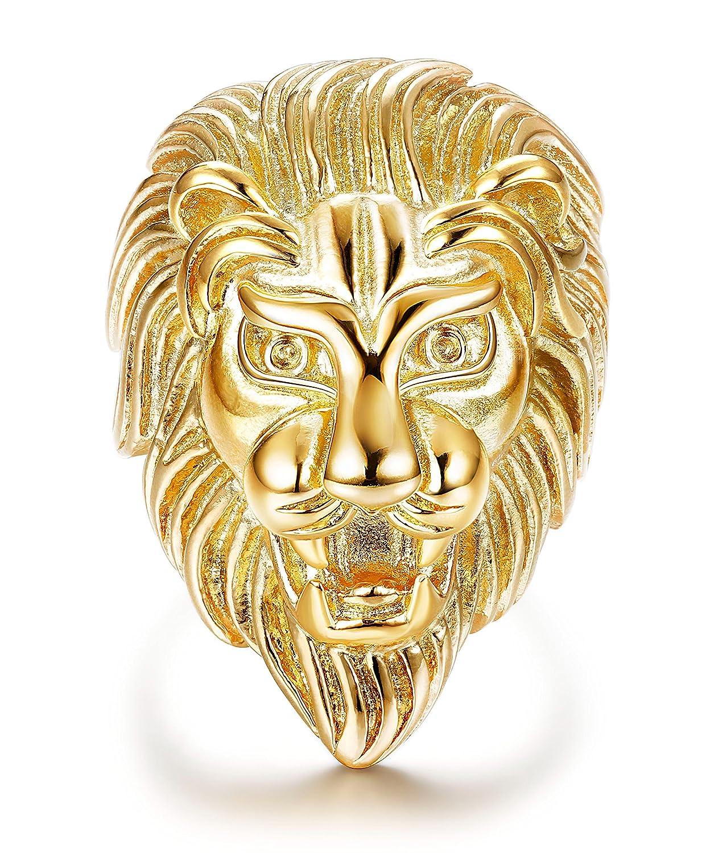 sailimue Bijoux Acier Inoxydable Bague Homme Garçon Tête de Lion Couleur Or 54.5-70 CDE-1D10