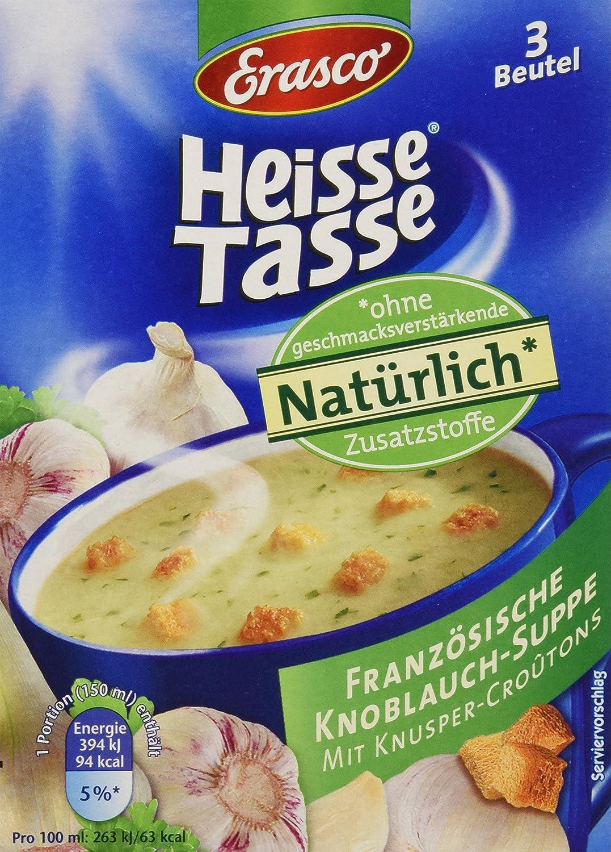Heisse Tasse Französische Knoblauch-Suppe mit Croûtons Faltschachtel ...