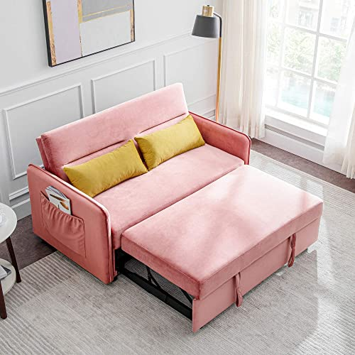 Reversible Sleeper Sectional Sofa, Velvet Sofa Bed Compact Soft Pull-Out Sleeper Sofa with 2 Lumbar Pillow. Pink