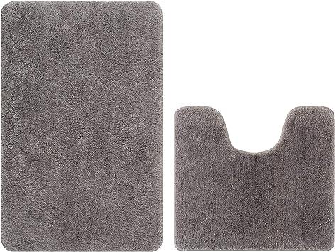 Bathroom Contour Rugs Microfiber Set of 2 Soft Shaggy Non Slip