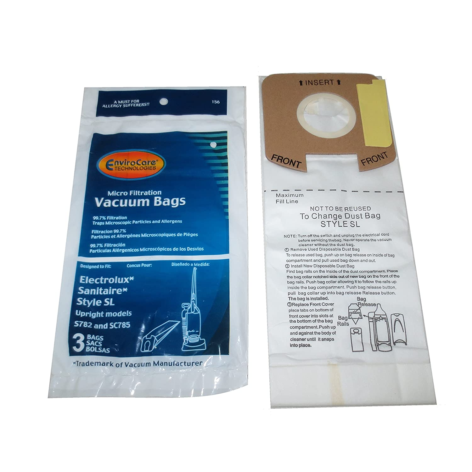 EnviroCare Replacement Micro Filtration Vacuum Bags for Eureka Electrolux Sanitaire Style SL Upright Models S782 and SC785 6 Pack