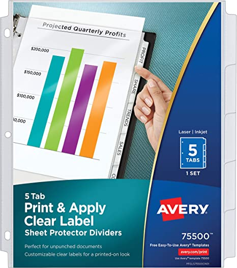 Avery 5 Tab Sheet Protector Dividers Easy Print Apply Clear Labels Index Maker White Tabs 1 Set 75500