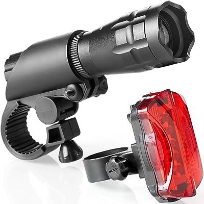 Set de luces para bicicleta–Super brillante LED luces para tu bicicleta–fácil de montar Faro Delantero y piloto trasero con sistema de liberación rápida–la mejor iluminación delantera y trasera–se adapta a todas las bicicletas