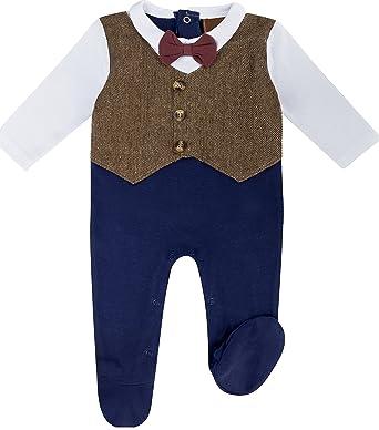 Anja Wendt Strampler Baby Jungen Kleiner Anzug Blau Braun