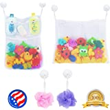 2 x Mesh Bath Toy Organizer + 6 Ultra Strong Hooks ? The Perfect Net for Bathtub Toys & Bathroom Storage ? These Multi-Use Organizer Bags Make Bath Toy Storage Easy ? For Kids Toddlers & Baby