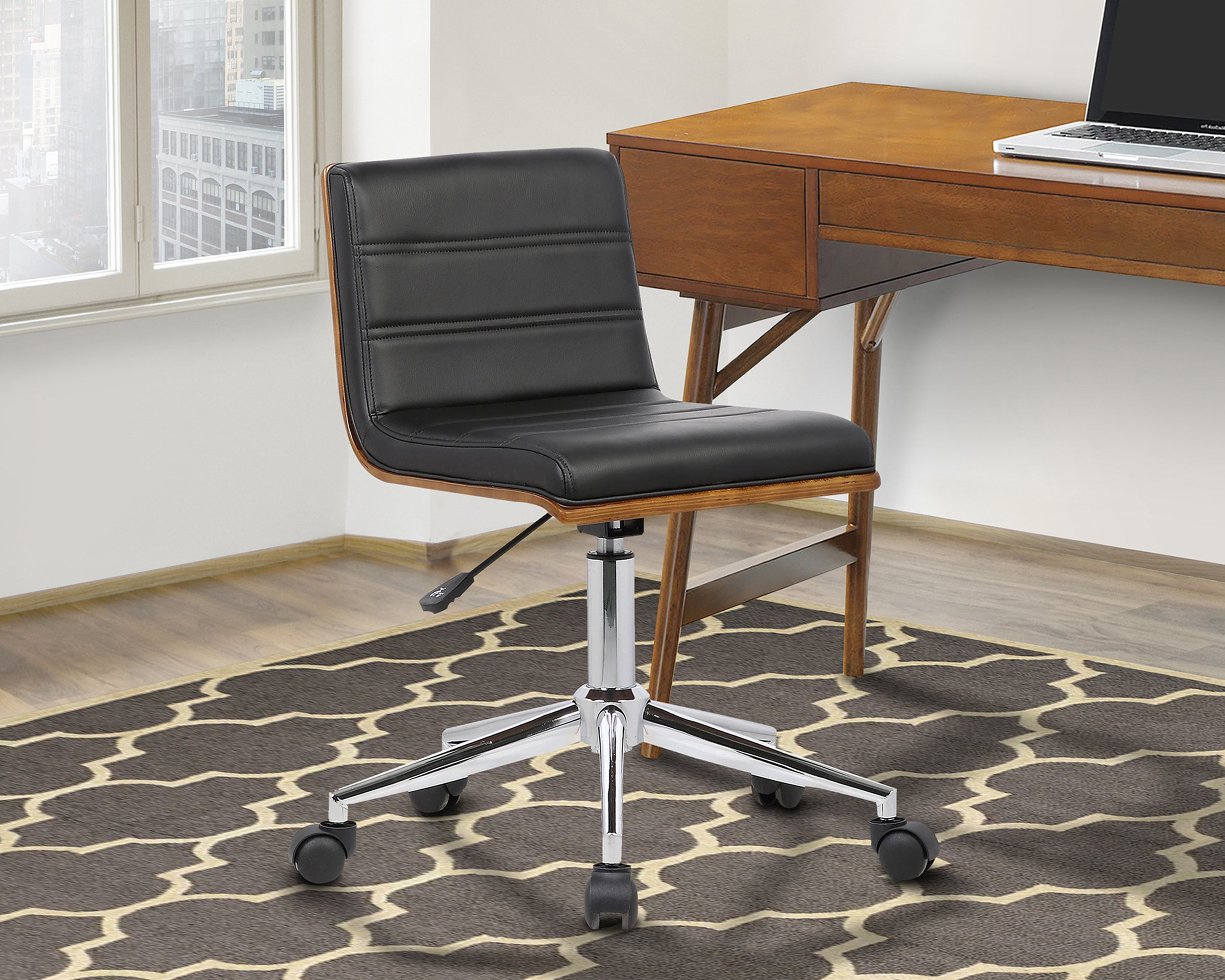 Armen Living LCBOOFCHBLACK Bowie Office Chair in Black Faux Leather and Chrome Finish