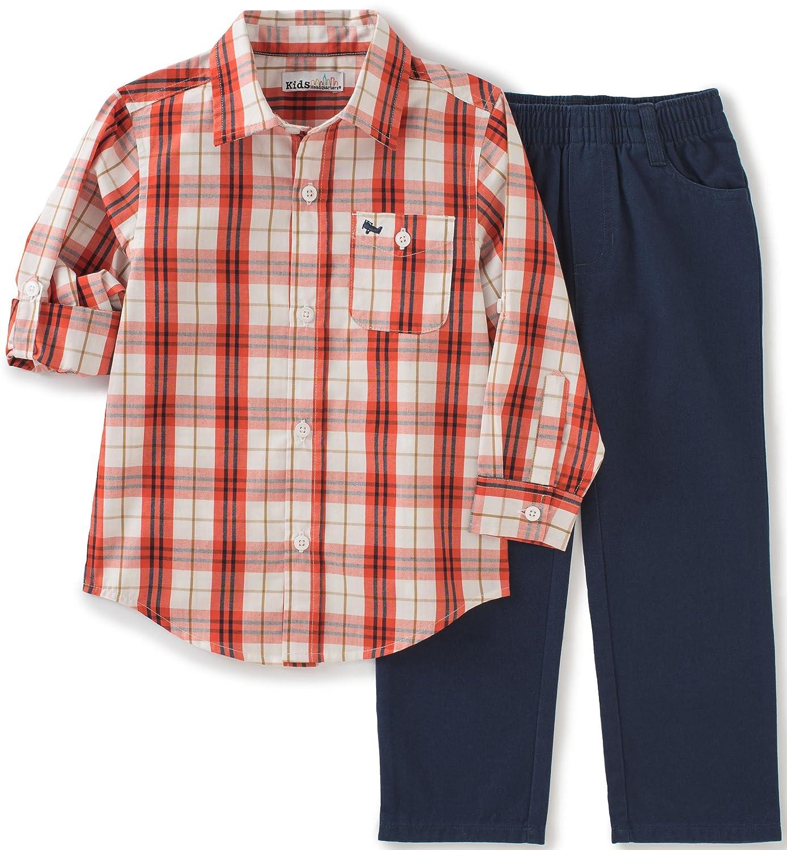 Kids Headquarters Boys' 2 Pieces Woven Shirt Pants Set red