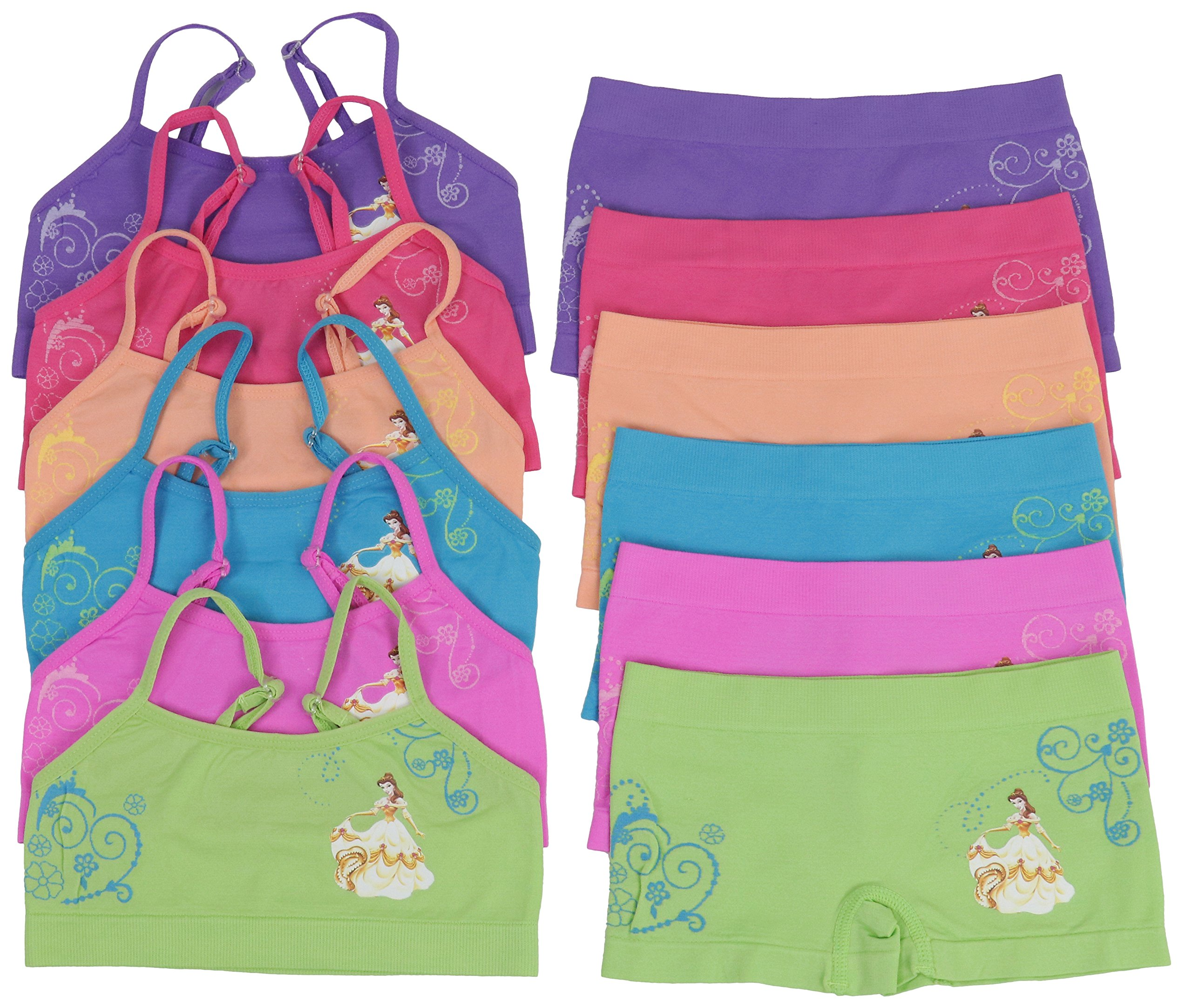 ToBeInStyle Girls' Pack of 6 Set of Matching Bras & Boyshorts (Medium (Ages 7-11), Princess of Beauty)