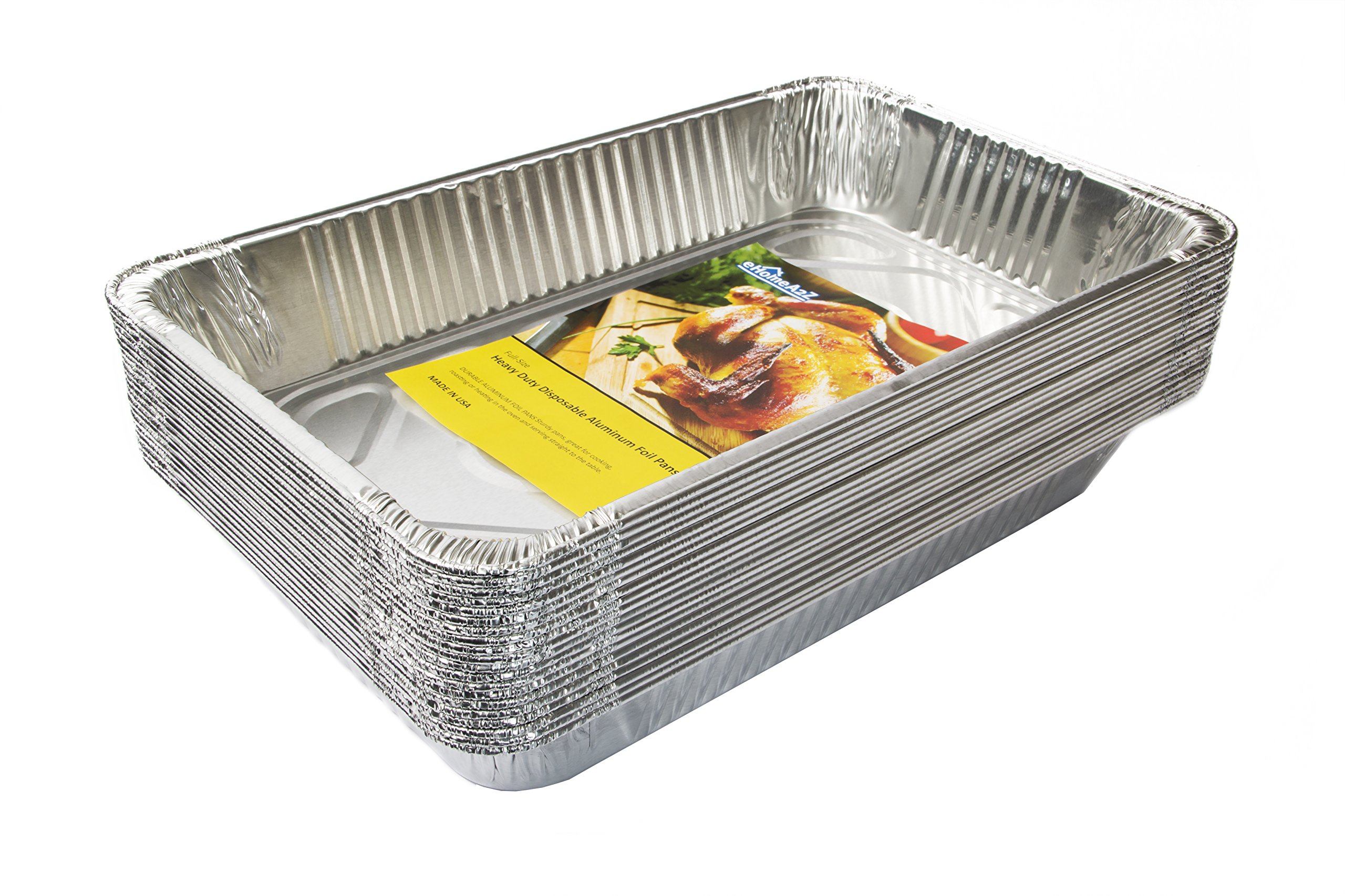 eHomeA2Z (20 Pack) Heavy Duty Full-Size Deep Disposable Aluminum Foil Steam Table Pans for Cooking, Roasting, Broiling, Baking - 21 x 13 x 3 (20, Full-Size)