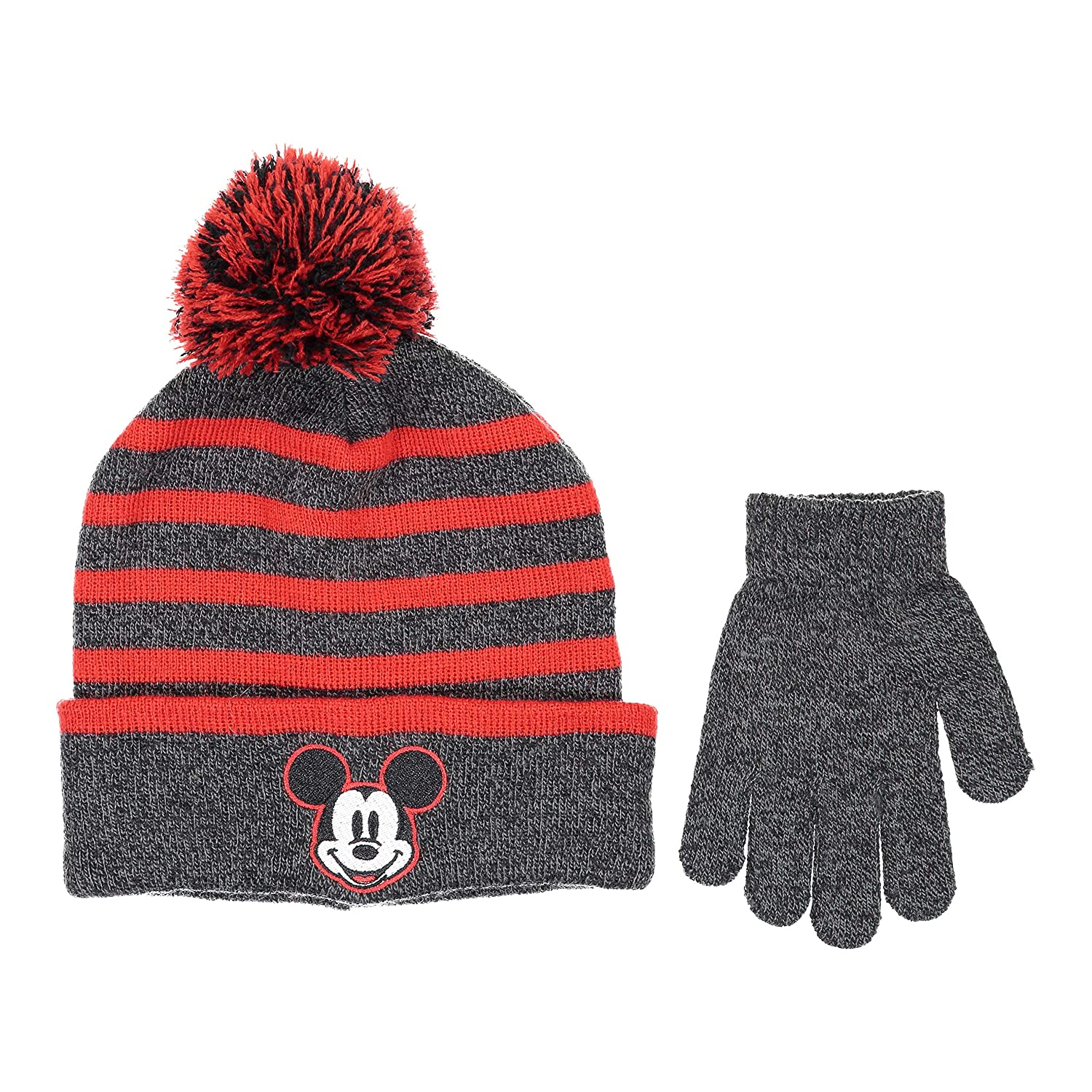 Disney Mickey Mouse Boys Beanie Knit Winter Hat and Glove Set [4015]