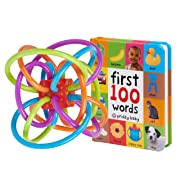 MartLoop Baby Rattle and Sensory Teether Toy and First 100 Words Book Educational Learning Bundle
