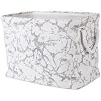 """DII Collapsible Polyester Storage Basket or Bin with Durable Cotton Handles, Home Organizer Solution for Office, Bedroom, Closet, Toys, Laundry (Medium – 14x8x9""""), White Marble"""