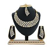 Vatsalya Creation Gold Plated Traditional Diamond Necklace Set for Women(White)