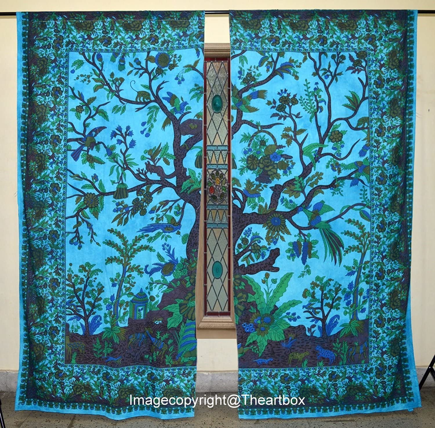 THE ART BOX Window Curtains Indian Window Drapes Set of 2 Tapestry Window Curtains Hanging Valances for Window Room Divider (Turquoise Tree, 80x82 Inches or 203x210CM)