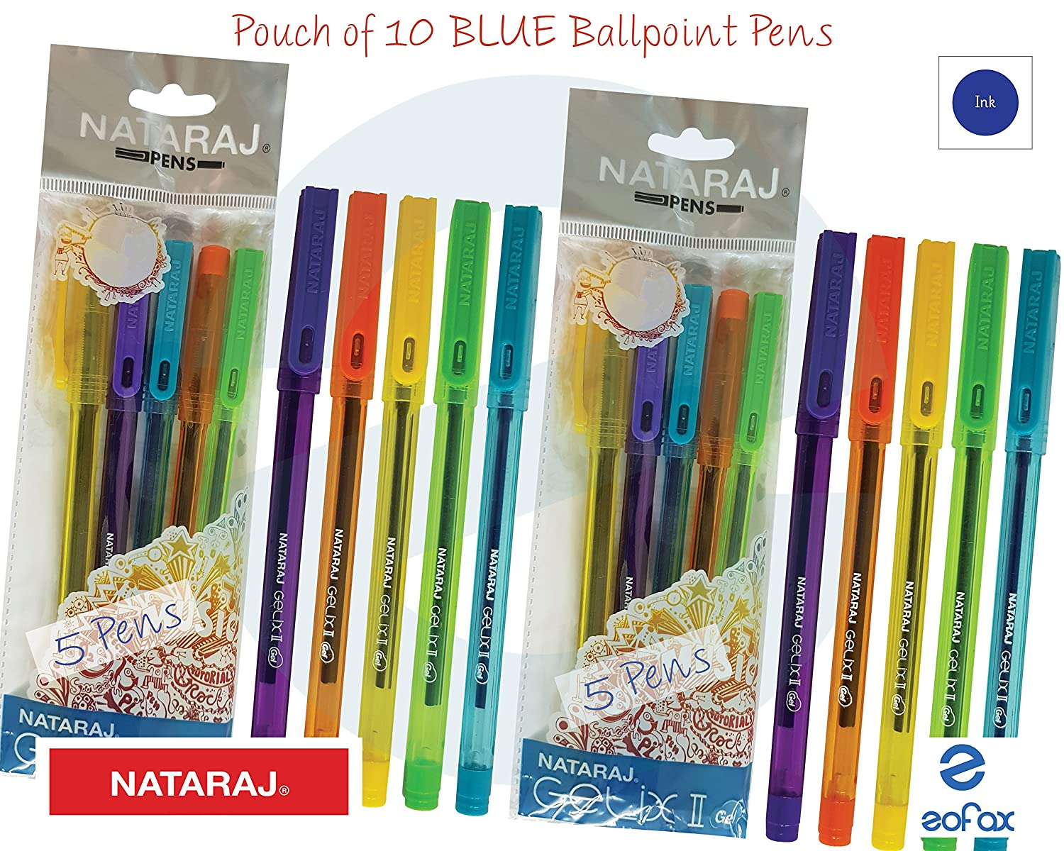 10X Nataraj itip gel Blue pen for Home School /& Office Smooth writing flow