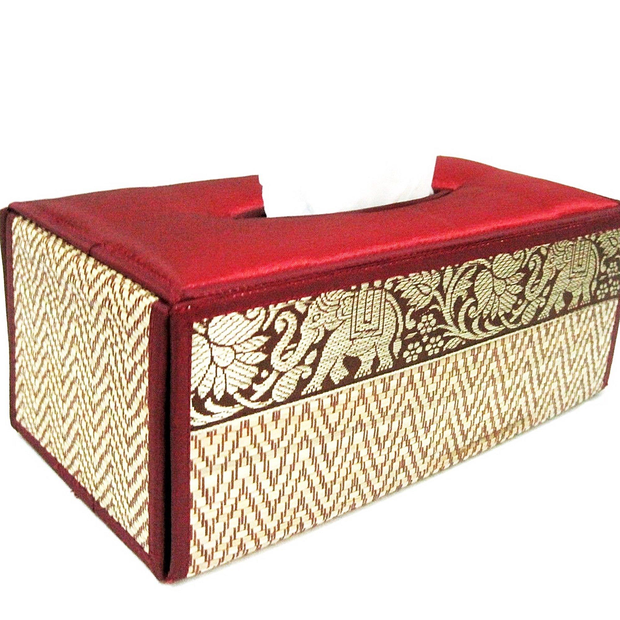 chantubtimplaza Tissue Box Cover Thai Handicraft Elephant Silk Reed Red Color Handmade Home Decor