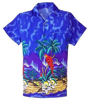 875a20bd4 MENS HAWAIIAN SHIRT STAG BEACH HAWAII ALOHA PARTY SUMMER HOLIDAY FANCY NEW  PARROT BLUE SMALL (S, BLUE): Amazon.co.uk: Clothing