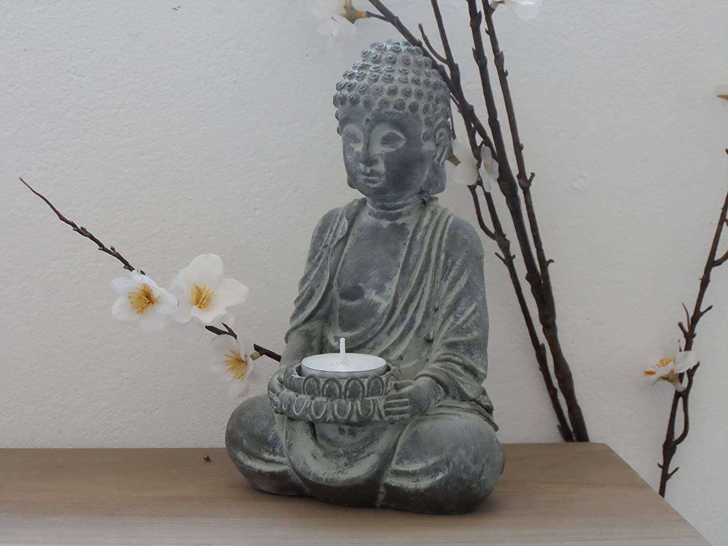 Sitting Buddha Tealight Candle Holder Ornament Stone Effect Home Or Garden Amazon Co Uk Kitchen Home