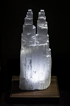 Extra Large Double Twin Tower Selenite Skyscraper Lamp 14u0026quot ...