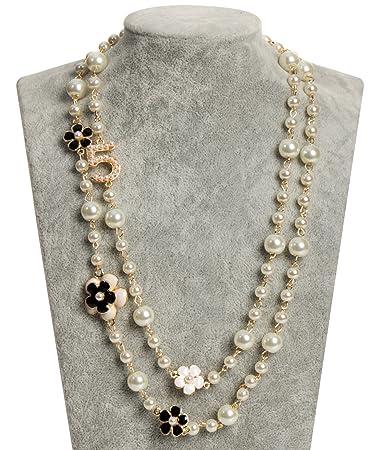 2044e6fbbf Amazon.com : MISASHA Fashion Jewelry Multipurpose White Imitation Pearl  Celebrity Bridal Necklace : Everything Else