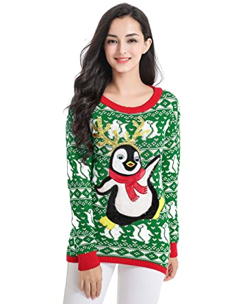 ee2fbce689b3f7 v28 Ugly Christmas Sweater, Women Girl Junior Cute Penguin Clothes Jumper  Sweater (X-