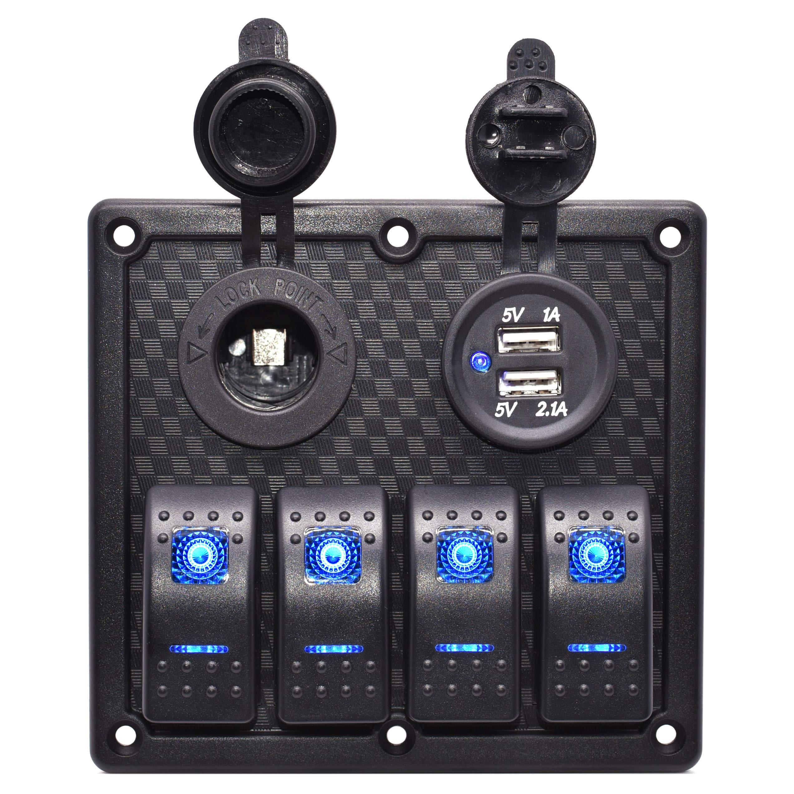 Cllena 4 Gang Marine Boat Rocker Switch Panel Whit Dual USB Charger Port + 12V Power Outlet Cigarette Lighter Socket for Car Marine Boat Rv ATV Truck Vehicles by Cllena