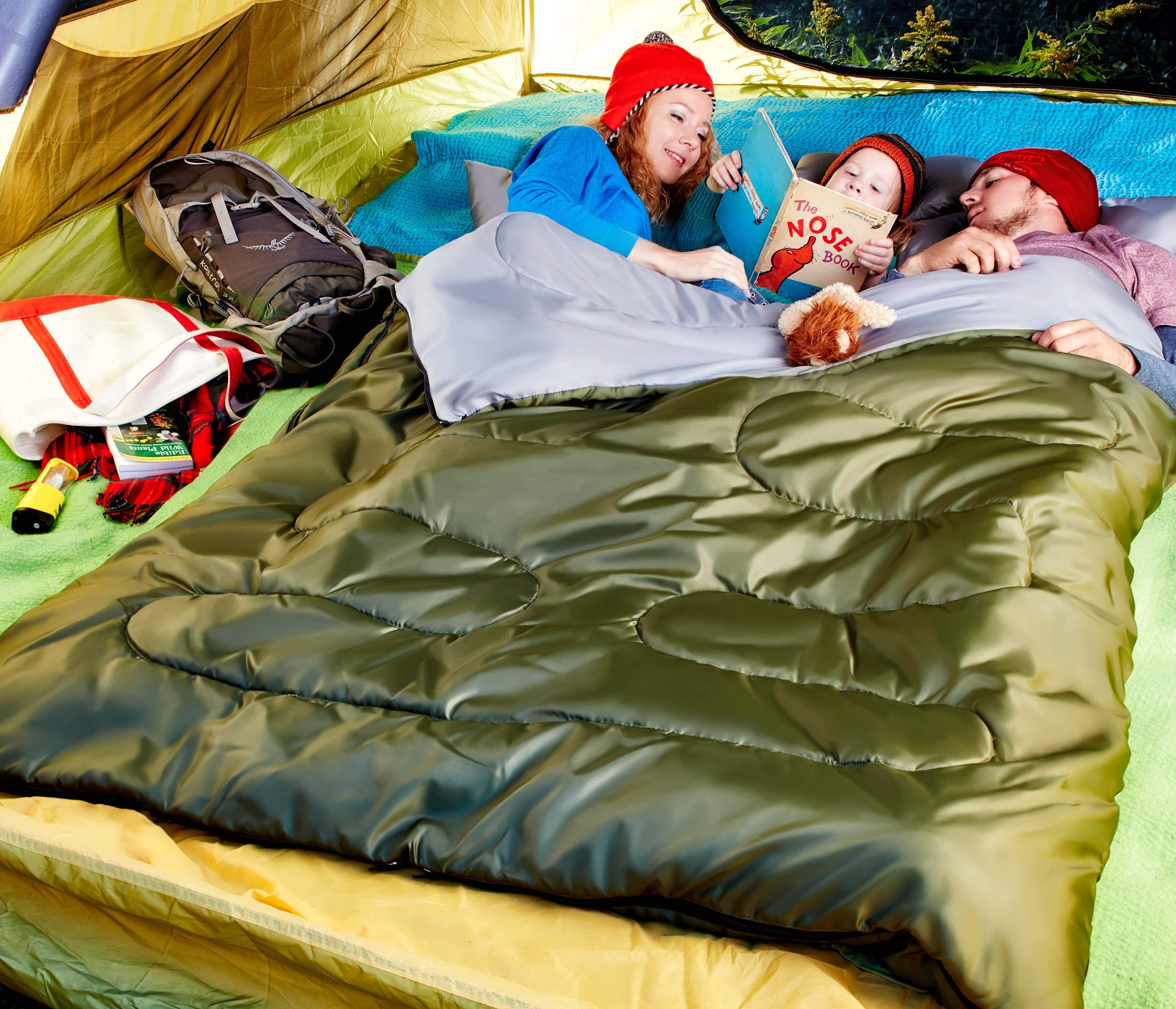 Sleepingo Double Sleeping Bag for Backpacking, Camping, Or Hiking. Queen Size XL! Cold Weather 2 Person Waterproof Sleeping Bag for Adults Or Teens. Truck, Tent, Or Sleeping Pad, Lightweight 4